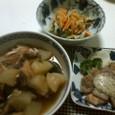 柿の酢の物、豚肉マスタード&ローズマリーマヨソース